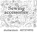 sewing accessories coloring... | Shutterstock . vector #407374993