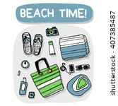 beach accessories outdoor... | Shutterstock .eps vector #407385487