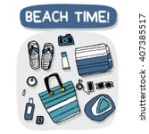 beach accessories outdoor... | Shutterstock .eps vector #407385517
