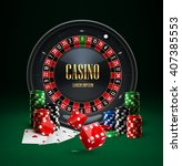 casino roulette  chips  red... | Shutterstock .eps vector #407385553