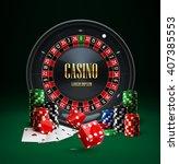 casino roulette  chips  red... | Shutterstock .eps vector #407385553