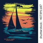 sail boat vector t shirt... | Shutterstock .eps vector #407391187