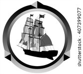 icon pirate sailing ship on... | Shutterstock .eps vector #407399077