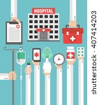 hospital flat design card with... | Shutterstock .eps vector #407414203