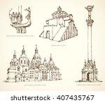 kyiv famous touristic show... | Shutterstock .eps vector #407435767