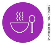 bowl of hot soup with spoon... | Shutterstock .eps vector #407440057