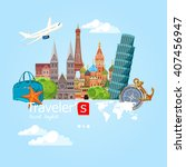 travel and tourism background.... | Shutterstock .eps vector #407456947