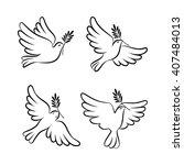 flying dove vector sketch set.... | Shutterstock .eps vector #407484013