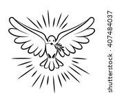 flying dove vector sketch. dove ... | Shutterstock .eps vector #407484037