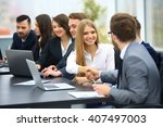 group of confident business... | Shutterstock . vector #407497003