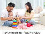 asian parent playing with their ... | Shutterstock . vector #407497303