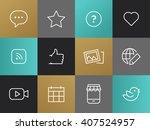 single line blog  social... | Shutterstock .eps vector #407524957