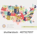 cartoon map of usa with legend... | Shutterstock .eps vector #407527057