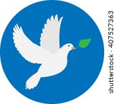 dove with an olive branch on... | Shutterstock .eps vector #407527363