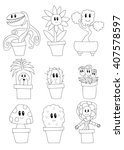 cute potted plants set... | Shutterstock .eps vector #407578597