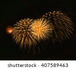 orange red fireworks background ... | Shutterstock . vector #407589463