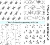 monochrome collection of marine ... | Shutterstock .eps vector #407589523