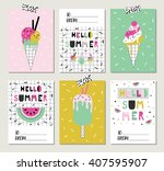 vector set of bright summer... | Shutterstock .eps vector #407595907