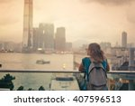 tourist woman on background of... | Shutterstock . vector #407596513