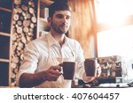 here you go  young handsome man ...   Shutterstock . vector #407604457