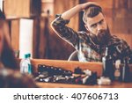 time for new haircut. handsome... | Shutterstock . vector #407606713