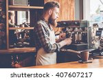 making best coffee in this city.... | Shutterstock . vector #407607217