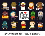 pixel art characters  8 bit...