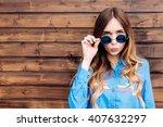 cool hipster student woman... | Shutterstock . vector #407632297