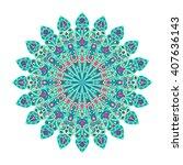 round green and pink mandala.... | Shutterstock . vector #407636143