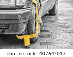 wheel lock on an illegally... | Shutterstock . vector #407642017