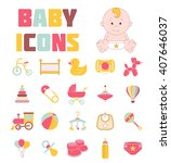 baby icons. doodle elements set.... | Shutterstock .eps vector #407646037