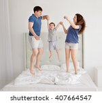 family of three  young parents... | Shutterstock . vector #407664547
