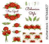 bohemian style collection. set... | Shutterstock .eps vector #407666827