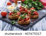 traditional italian antipasti... | Shutterstock . vector #407675317