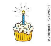 birthday cake icon. | Shutterstock .eps vector #407695747