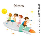 children sitting on rocket ... | Shutterstock .eps vector #407713447