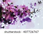 digital painting purple flowers ... | Shutterstock . vector #407726767