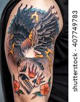 the finished tattoo after... | Shutterstock . vector #407749783