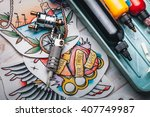 replacement supplies for tattoo ... | Shutterstock . vector #407749987