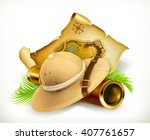 pith helmet. treasure map.... | Shutterstock .eps vector #407761657