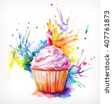 watercolor painting  festive... | Shutterstock .eps vector #407761873