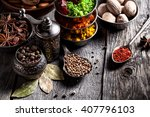 spices  pepper grinder  spoon...   Shutterstock . vector #407796103