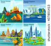asian travel 2x2 design concept ... | Shutterstock .eps vector #407801413