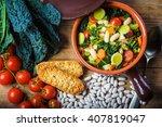 ribollita  tuscan soup classic  ... | Shutterstock . vector #407819047