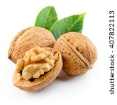 Small photo of Walnut isolated on the white background. With clipping path.