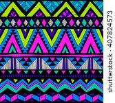 neon colors tribal navajo...   Shutterstock .eps vector #407824573