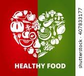 healthy food concept  vintage... | Shutterstock . vector #407833177