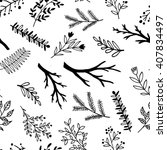 hand drawn doodle branches.... | Shutterstock .eps vector #407834497