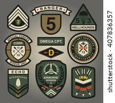 set of military and army... | Shutterstock .eps vector #407836357