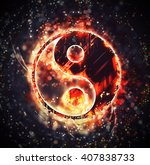 burning yin yang sign | Shutterstock . vector #407838733